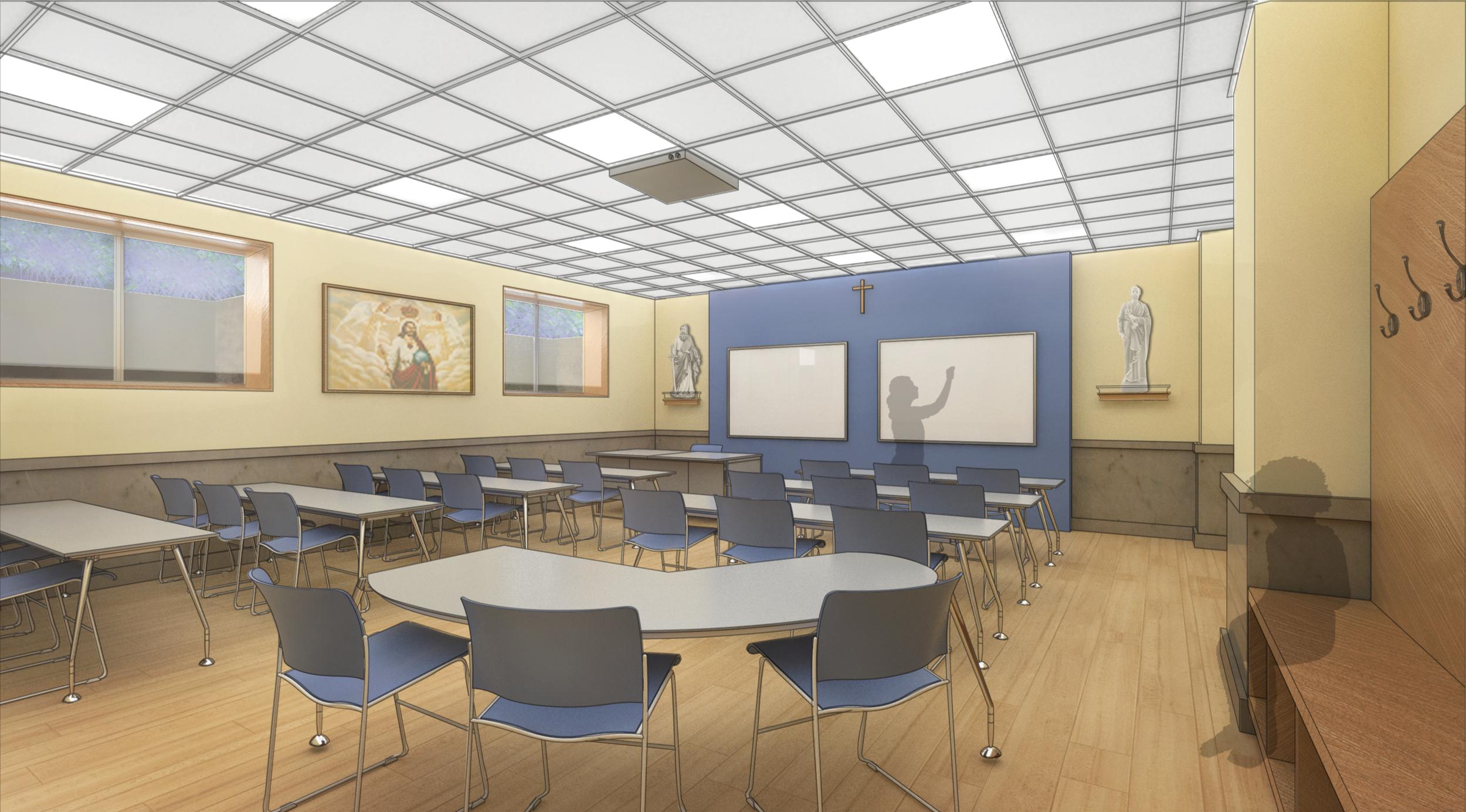 Ss Peter and Paul. Tobin Parnes Design. Queens, New York. In Progress. Classroom.