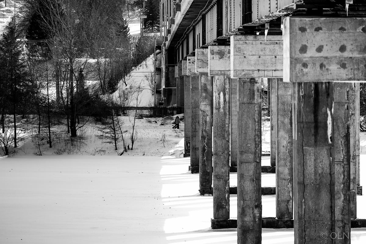 Bridge accross Magog River in Sherbrooke QC olney photographe sherbrooke
