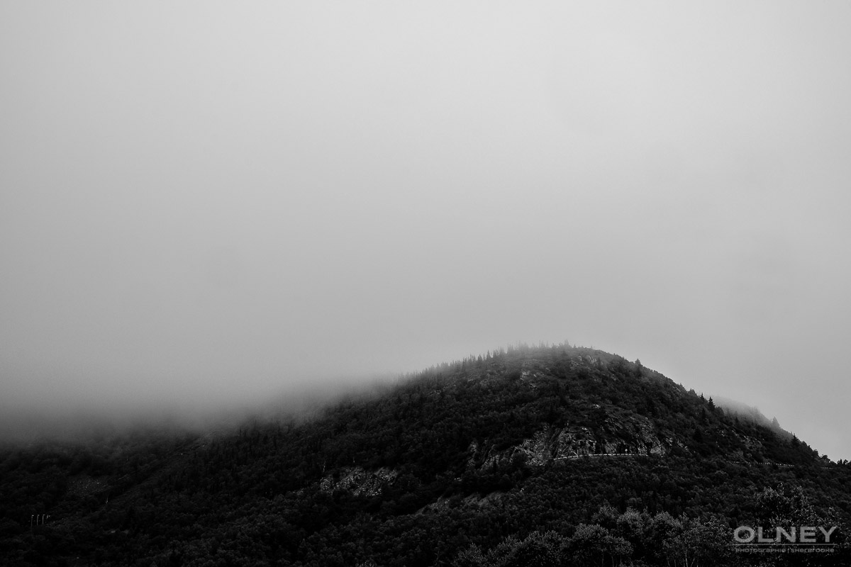 Hill in the mist in Cap Breton black and white olney photographe sherbrooke
