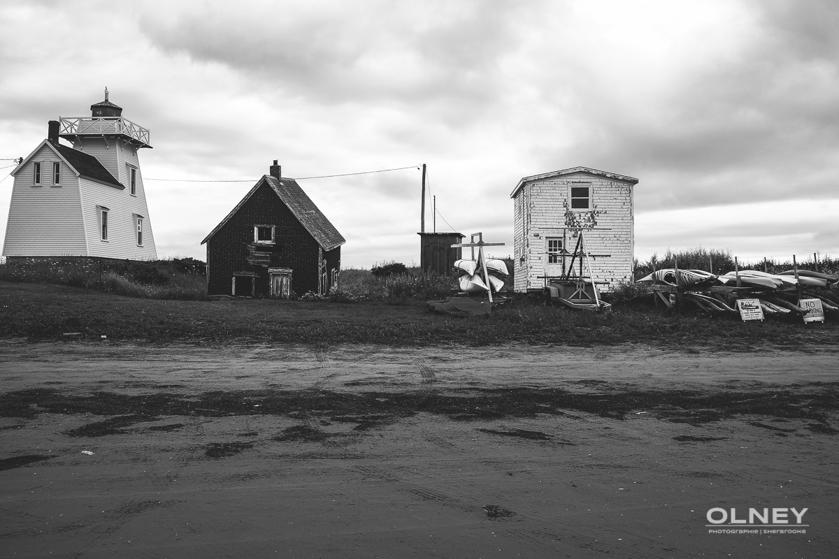 North Rustico harbour in early morning black and white olney photographe sherbrooke
