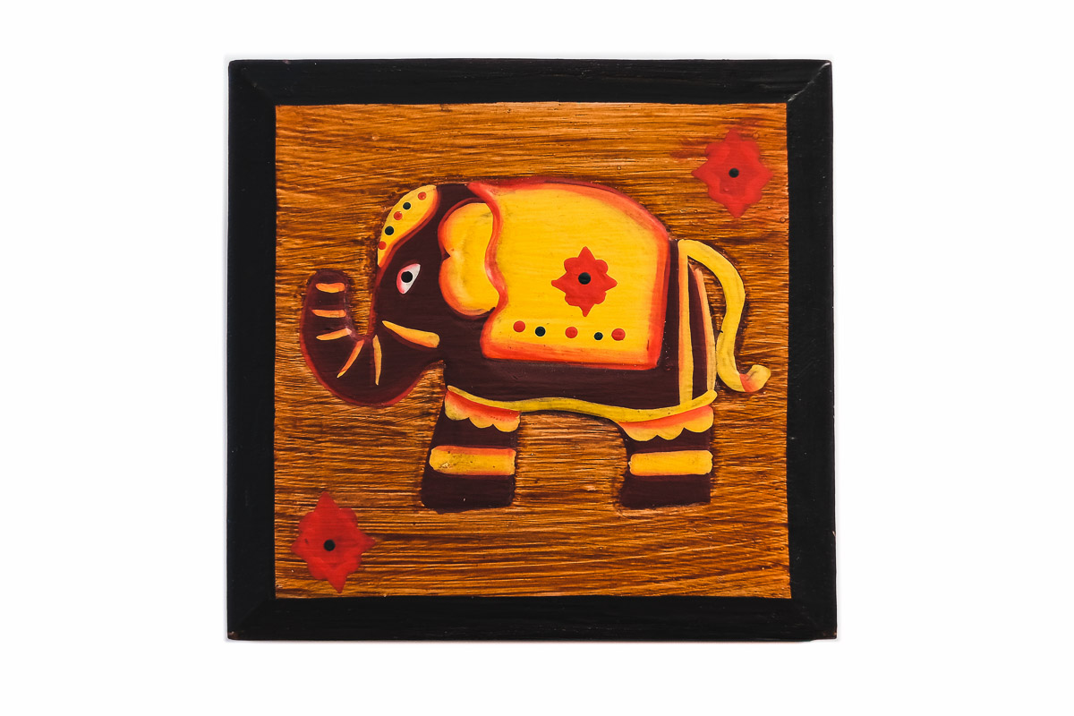 Wooden indian box with elephant