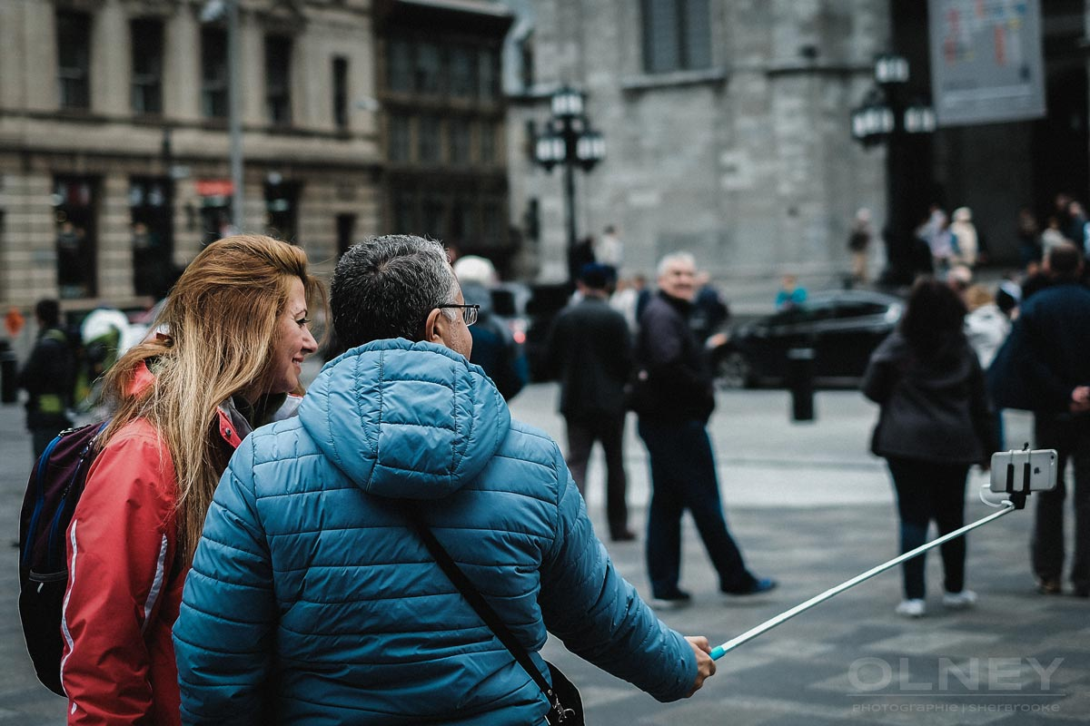 Tourists taking a selfie in Montreal