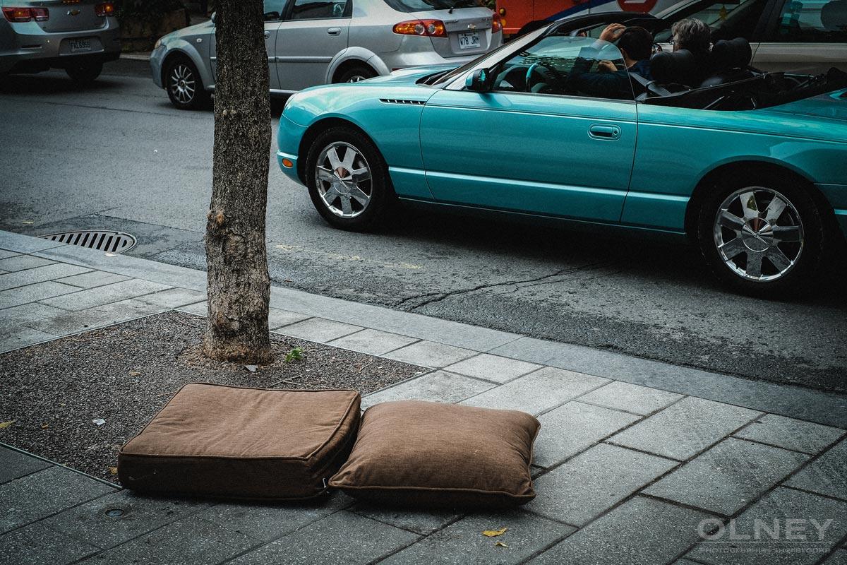Makeshift bed or forgotten hassocks