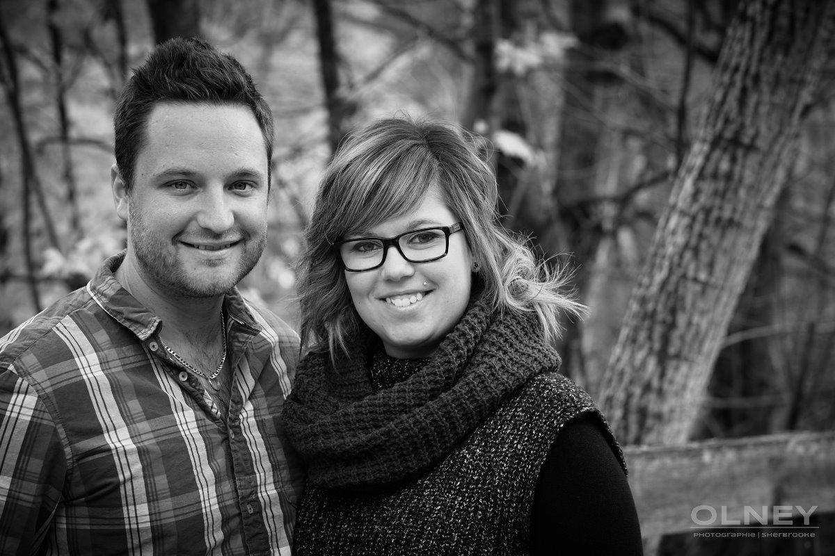 portrait jeune couple en noir et blanc sherbrooke