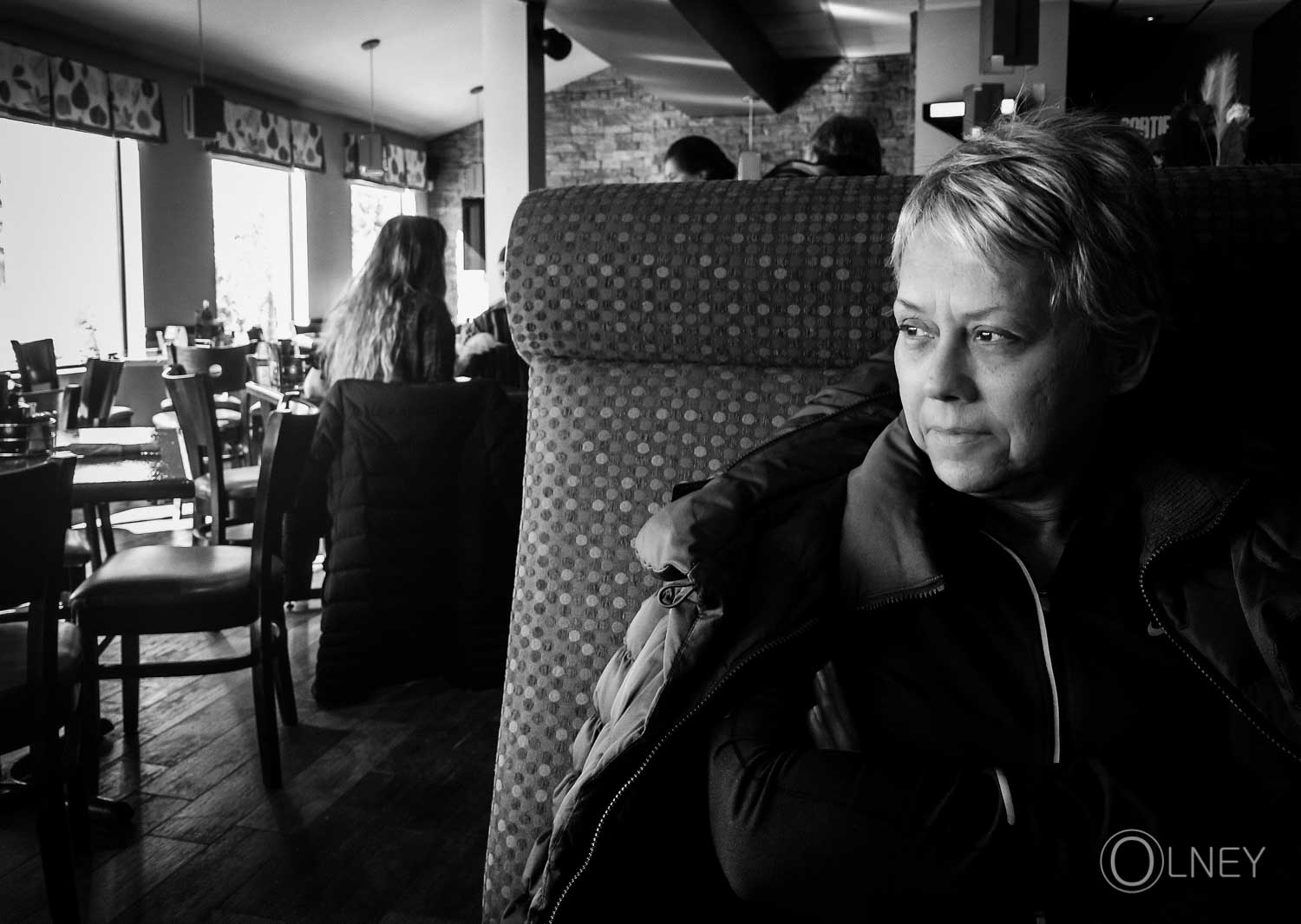 Waiting woman portrait in black and white