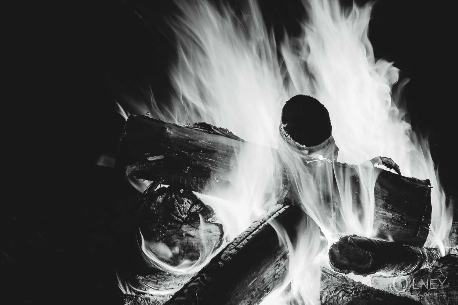 campfire in black and white