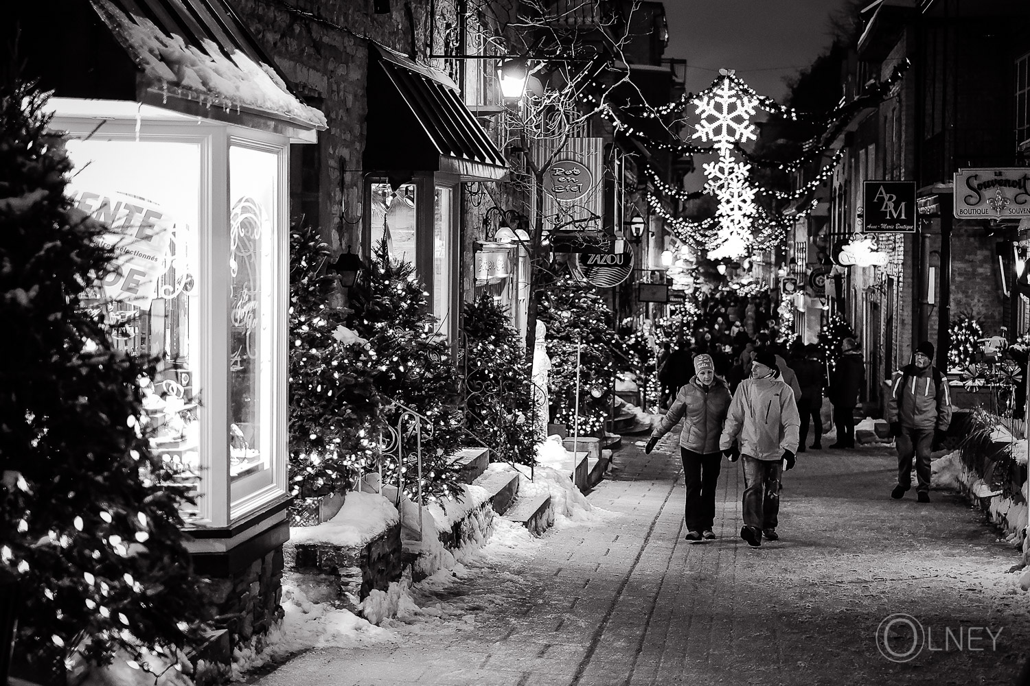 Petit Champlain street at night Quebec City