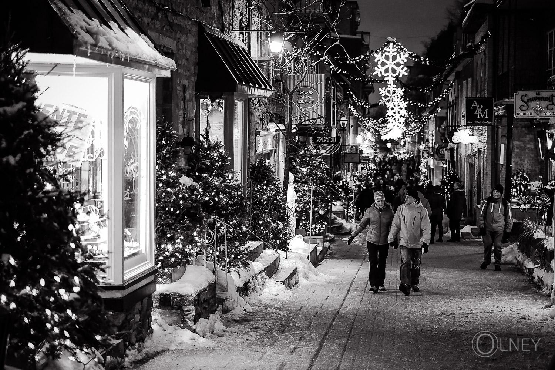 Petit Champlain street at night Quebec City