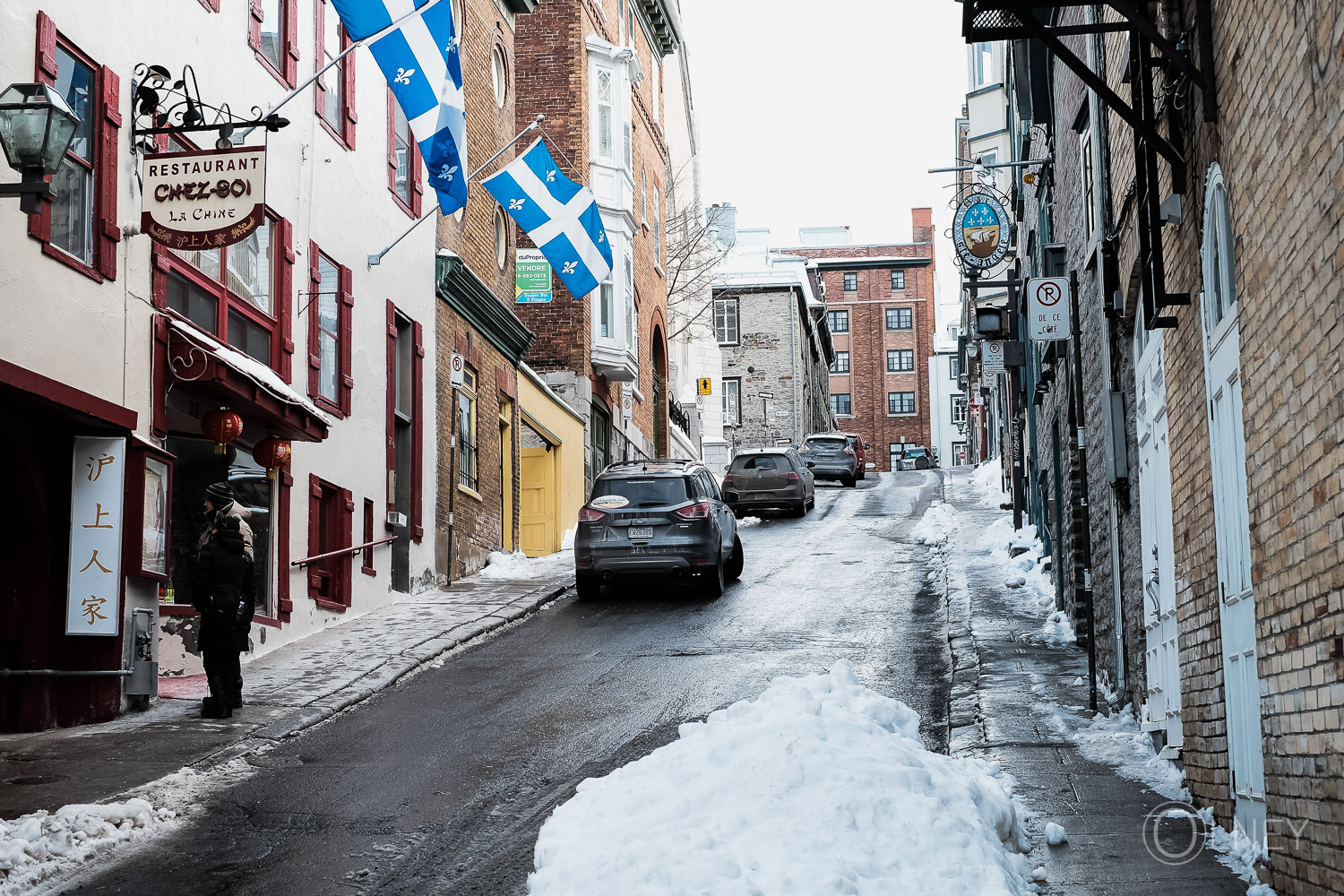 small street in quebec city historical district