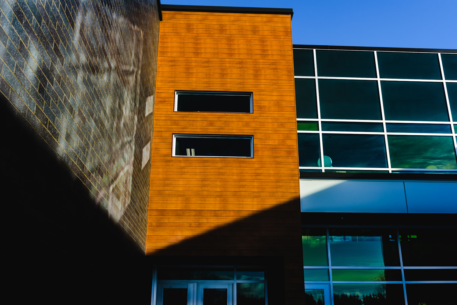 Siding material on a new school in Sherbrooke QC