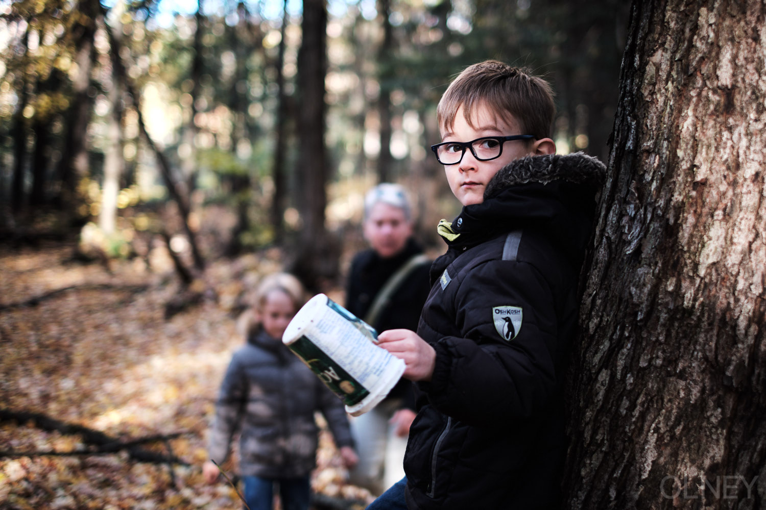 young boy portrait in the woods