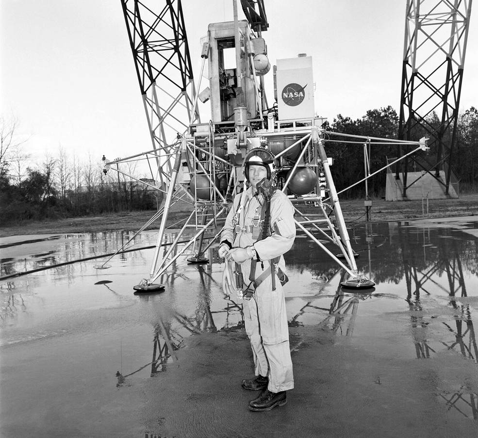 Neil Armstrong Practicing Lunar decent under the Gantry at NASA LaRC