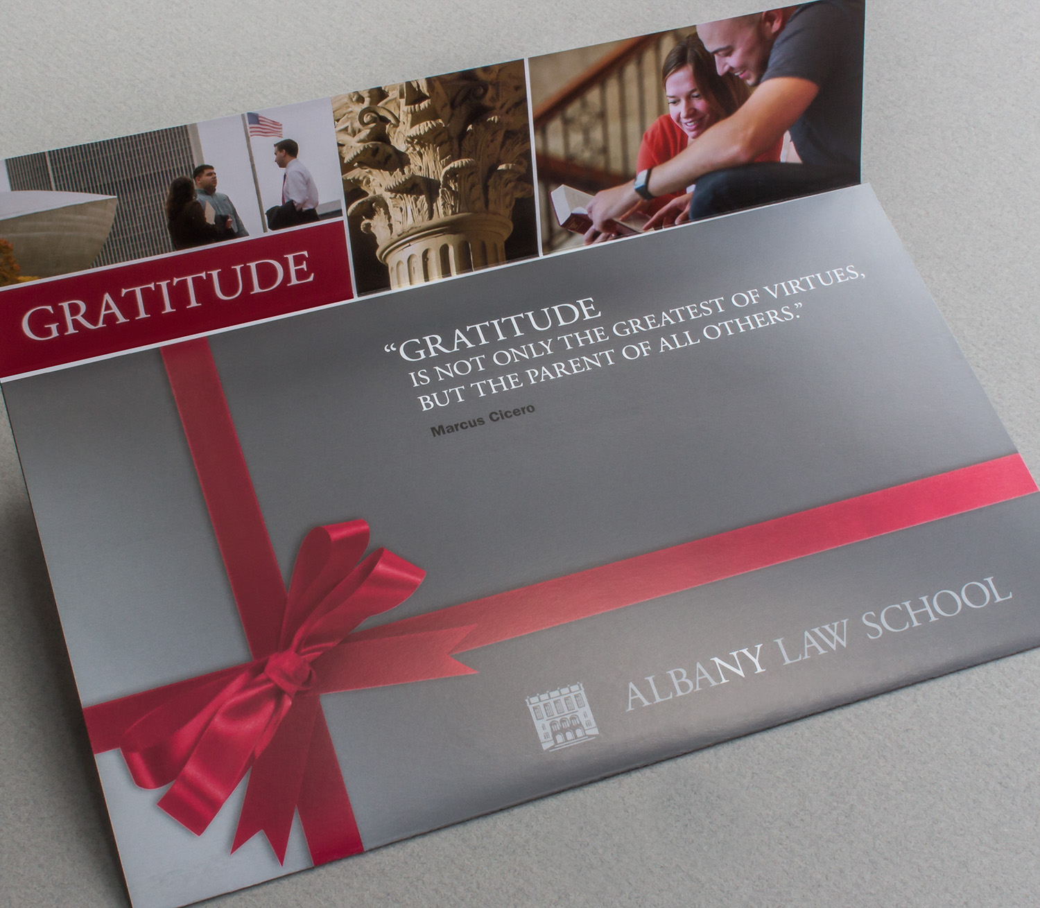 Panarama Design sketched many concepts for a gift-wrapped package for the outside panels of this mailer. (below)