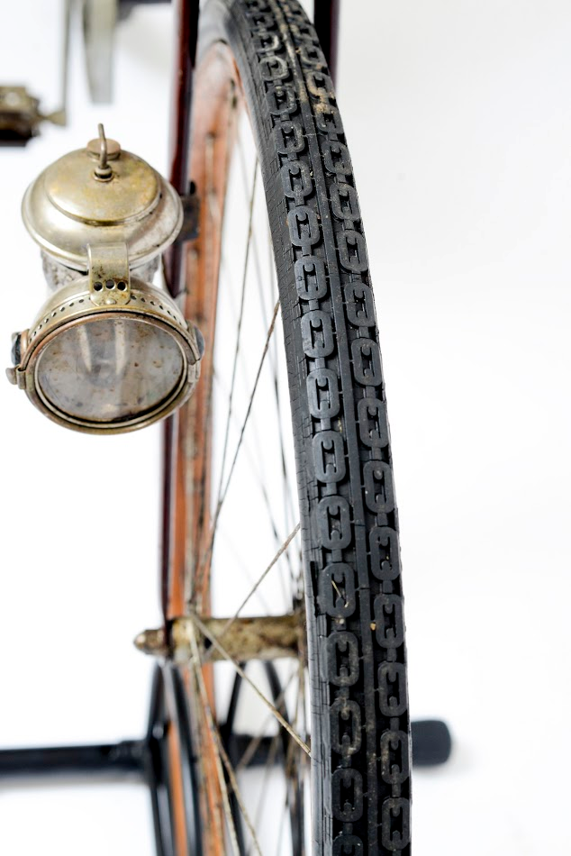 Detail of the carbide lantern  Columbia Lady's Pneumatic Safety Bicycle, detail; ca. 1897. L2014.1.5; Collection of Juston Anderson