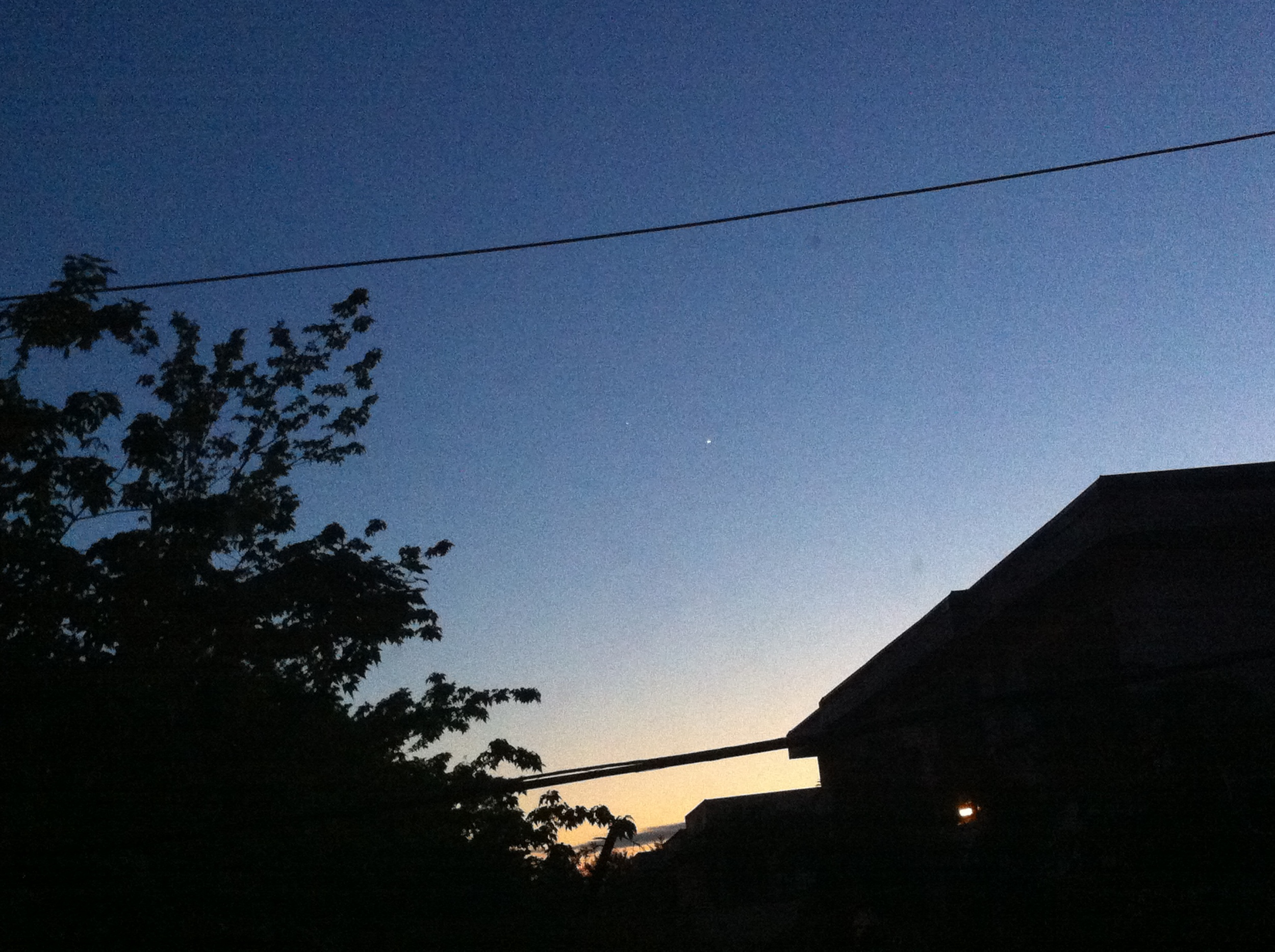 Venus and Jupiter  (can you see them?). Venus is the brighter one, Jupiter is barely visible, to the left of Venus.