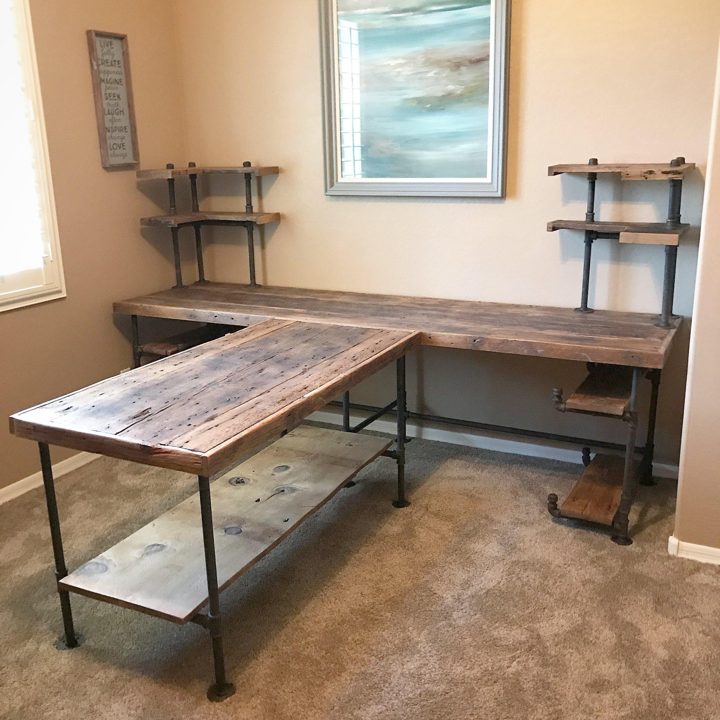Albert T-shaped Desk Reclaimed Wood Desk with Shelving