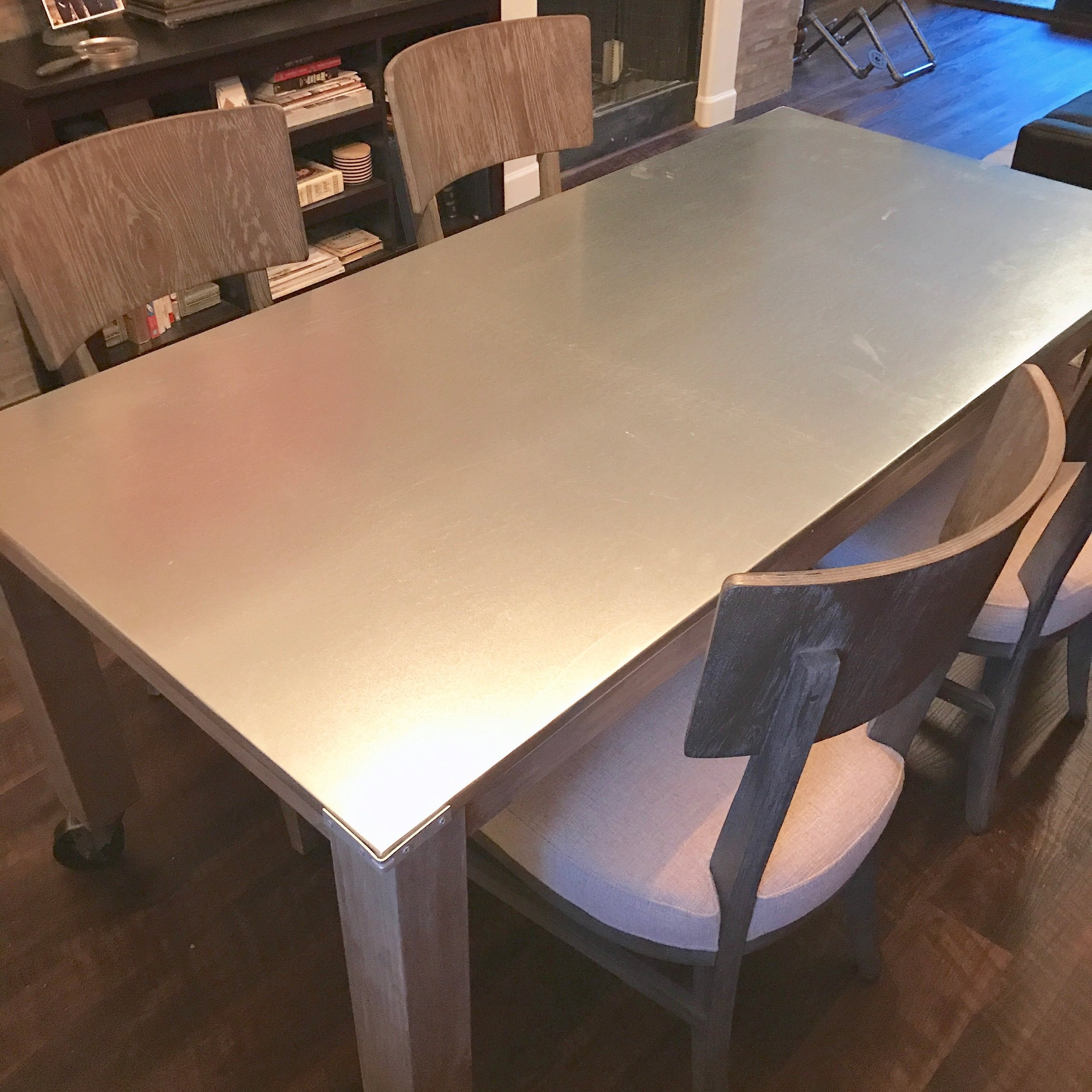 Galvanized Metal Dining Table on Casters