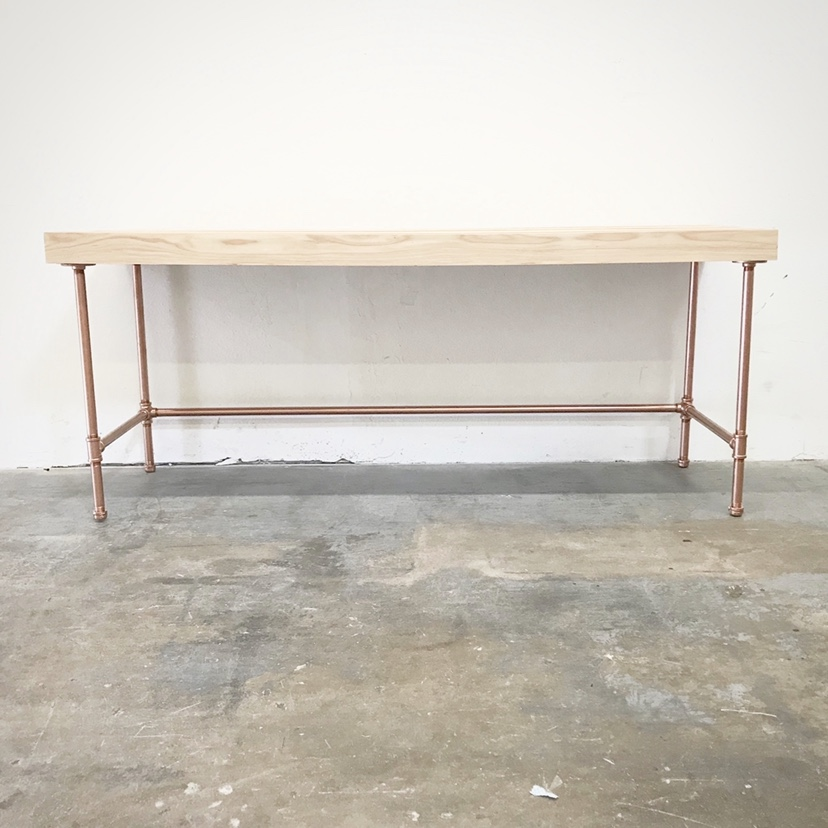 "Wayne Desk 72"" with 3"" Trim and Copper Base"