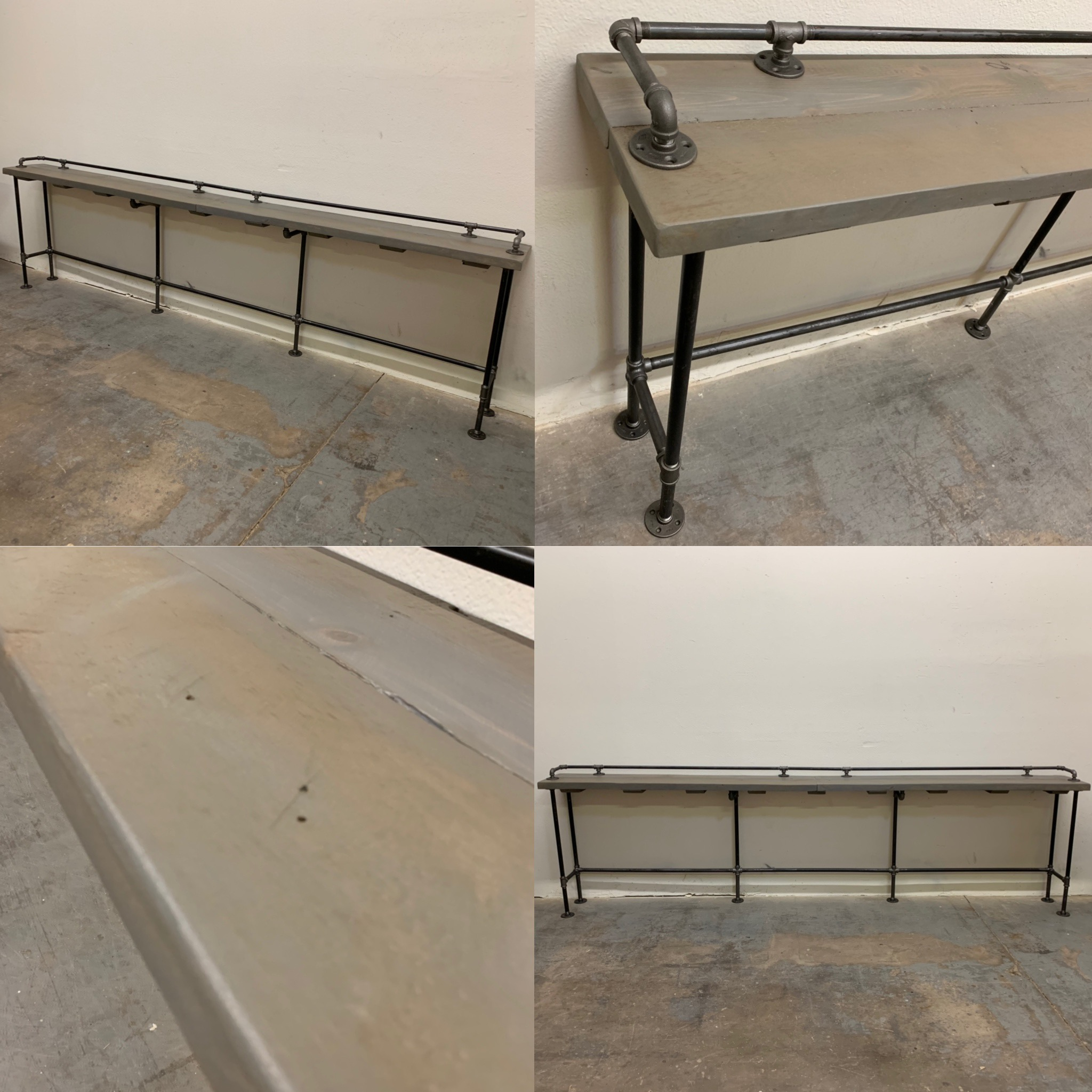 "Lenus Counter Table 144"" Graywash"