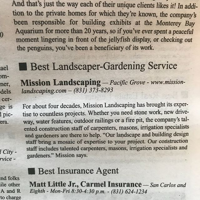We'd like to thank all that voted for us for the Golden Pine Cone award for best landscaping service second year in a row.