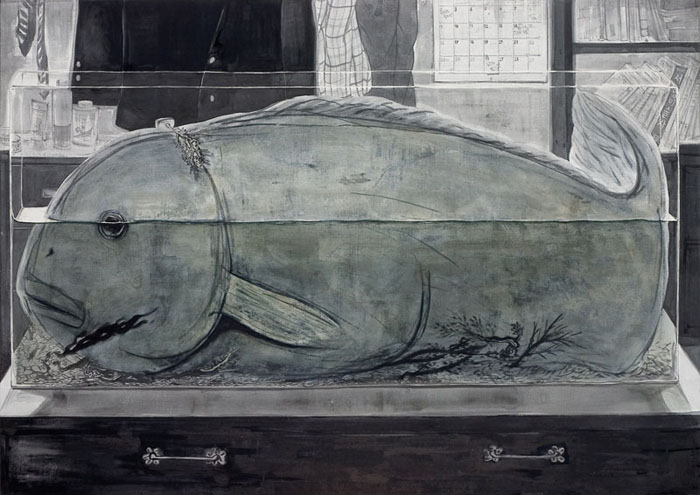 a narrow room, Muk and acrylic on Korean paper, 205 x 145cm, 2007