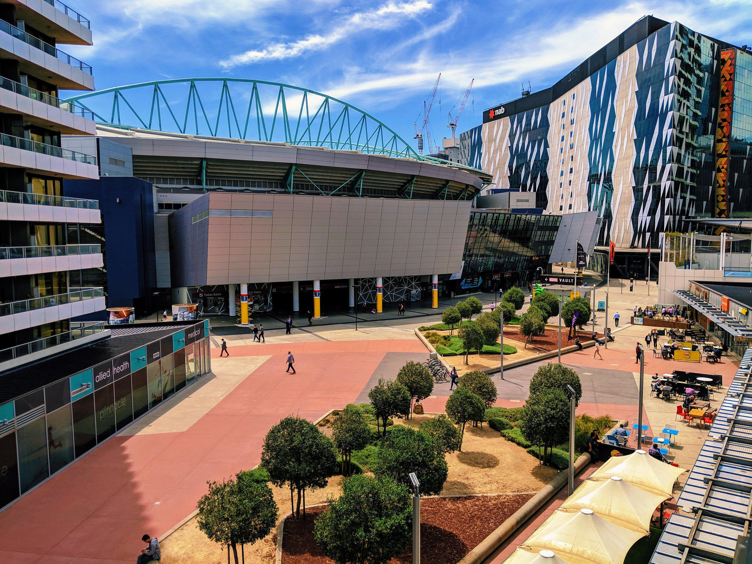 Docklands Stadium, also known by its current sponsorship name of Marvel Stadium, is a multi-purpose sports and entertainment stadium in the Docklands precinct of Melbourne, Victoria, Australia.