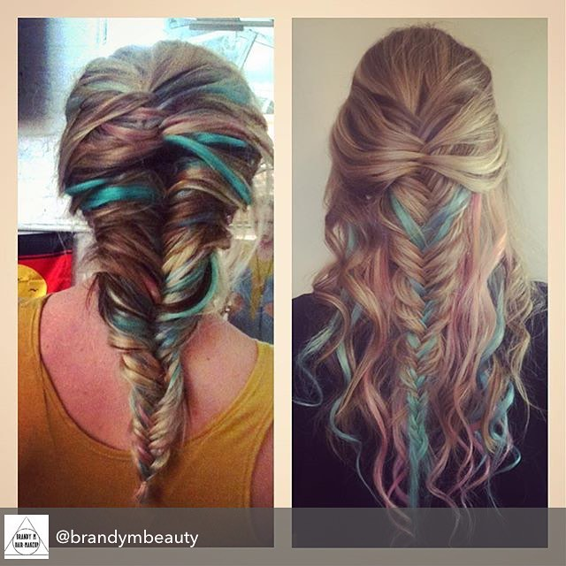 Repost from @brandymbeauty using @RepostRegramApp - I did the braid on the left for a @shape_shiftr look book shoot in 2010 and the braid on the right in 2016.  Fishtail braids will always stand the test of time!! #brandym #brandymcdonald #fishtailbraid #pastel #hair #braidsforever