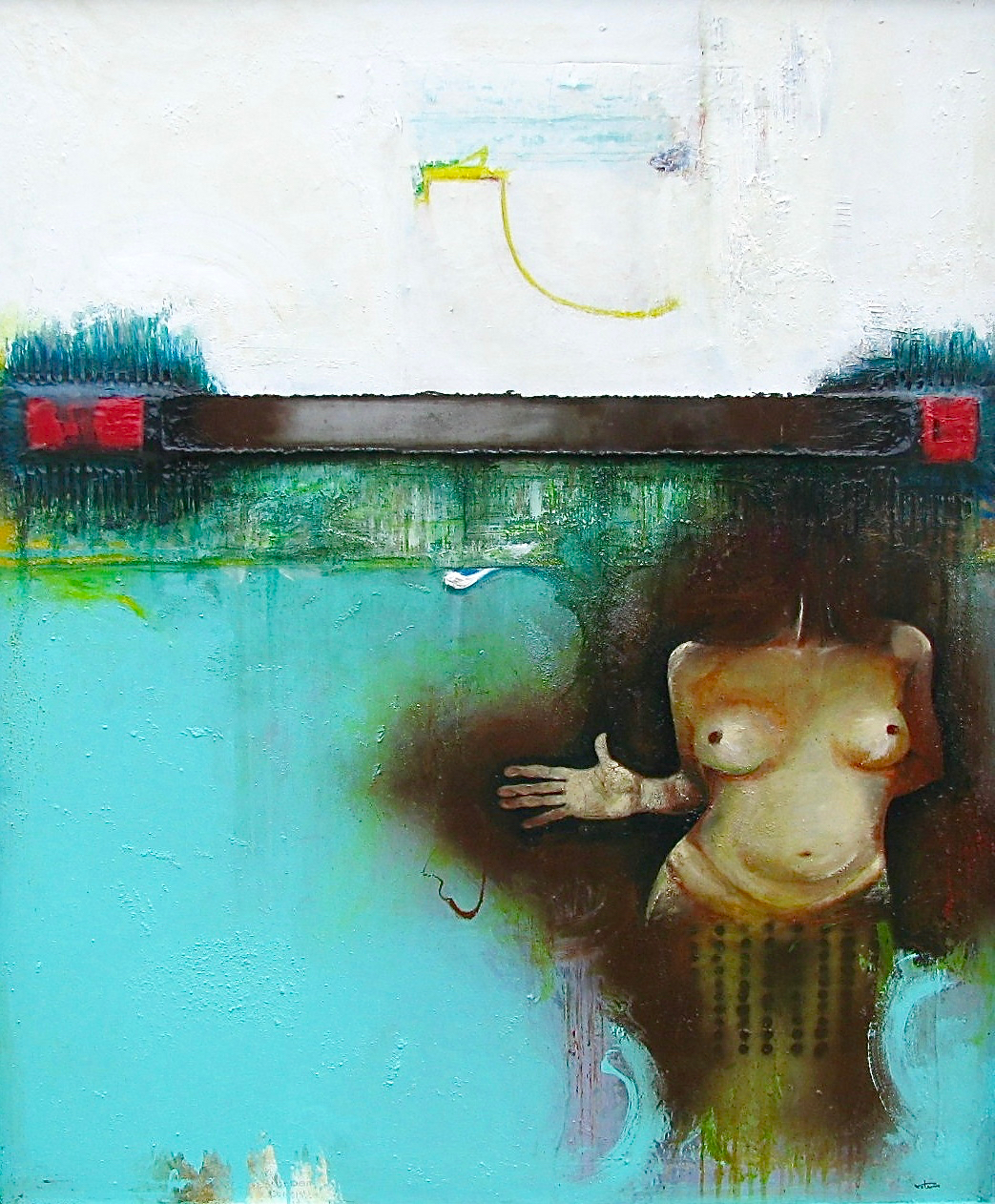 """""""Stop the World, I want to get OFF!""""  acrylic, oil and metal on wood panel  60X50"""""""