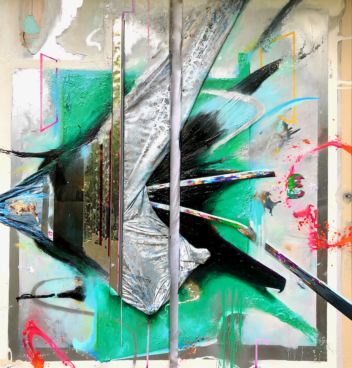 """Lex Aeterna""  acrylic, spray paint, metal, x-ray film, photo, fabric, polycarbonate, reflective mylar, plexiglass, LED lighting with 44 multi-color key remote on wood panel  78"" X 72"" Diptych"