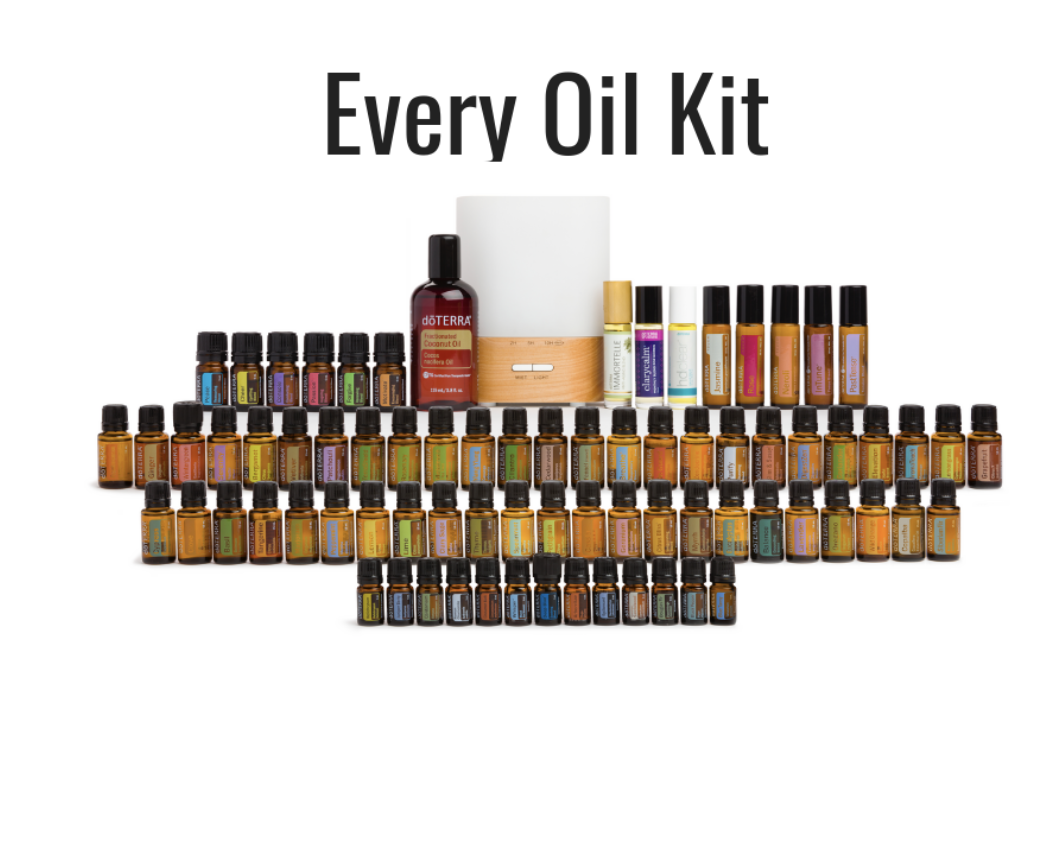 Wholesale: $2600 CAD/$2100 USD  Essential Oil Singles :  (15 mL unless otherwise noted)  Arborvitae (5 mL), Basil, Bergamot, Black Pepper (5 mL), Blue Tansy (5 mL), Cardamom (5 mL), Cassia, Cedarwood, Cilantro, Cinnamon Bark (5 mL), Clary Sage, Clove, Copiaba, Coriander, Cypress, Douglas Fir (5 mL), Eucalyptus, Fennel, Fractionated Coconut Oil (4 oz), Frankincense, Geranium, Ginger, Grapefruit, Green Mandarin, Helichrysum (5 mL), doTERRA Jasmine Touch (10 mL), Juniper Berry (5 mL), Lavender, Lemon, Lemongrass, Lime, Magnolia Touch (10 mL), Marjoram, Melaleuca, Melissa (5 mL), Myrrh, doTERRA Neroli Touch (10 mL), Oregano, Patchouli, Peppermint, Petitgrain, Pink Pepper (5 mL), Roman Chamomile (5 mL), doTERRA Rose Touch (10 mL), Rosemary, Sandalwood (Hawaiian) (5 mL), Siberian Fir, Spearmint, Spikenard, Tangerine, Thyme, Turmeric, Vetiver, Wild Orange, Wintergreen, Yarrow | Pom, (10 mL) Ylang Ylang  Essential Oil Blends: (15 mL unless otherwise noted)  AromaTouch, doTERRA Balance, doTERRA Breathe, doTERRA Cheer(5 mL), Citrus Bliss, ClaryCalm (10 mL), doTERRA Console (5 mL ), DDR Prime, Deep Blue (5 mL), DigestZen, Elevation, doTERRA Forgive (5 mL), HD Clear (10 mL), Immortelle (10 mL), InTune (10 mL), doTERRA Motivate (5 mL), doTERRA On Guard, doTERRA Passion (5 mL), PastTense (10 mL), doTERRA Peace (5 mL), Purify, doTERRA Serenity, Slim & Sassy, TerraShield, Whisper (5 mL), Zendocrine  Lumo Diffuser, The doTERRA Essentials Booklet