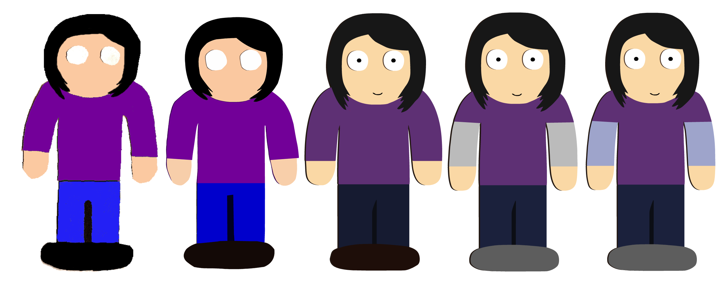 Some Nicole character model iterations. From left to right: #1, from the original series. #2, her Episode 1 iteration (which would be the third one), #3, her Episode 2 iteration, #4, her Episode 3 iteration (which is sort of Iteration 4.5), and finally, her current incarnation seen finally in Episode 4.