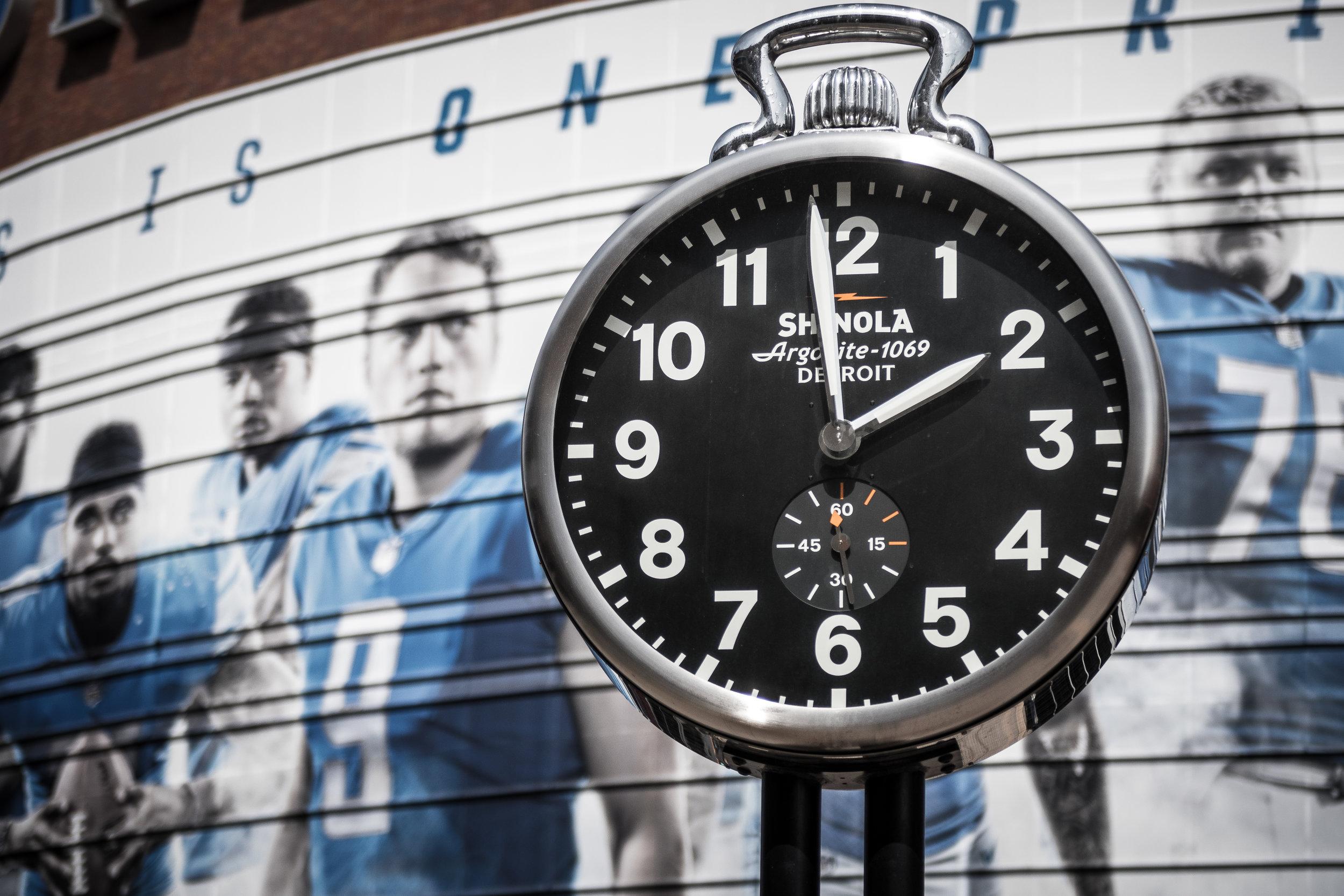 Shinola clock at Ford Field