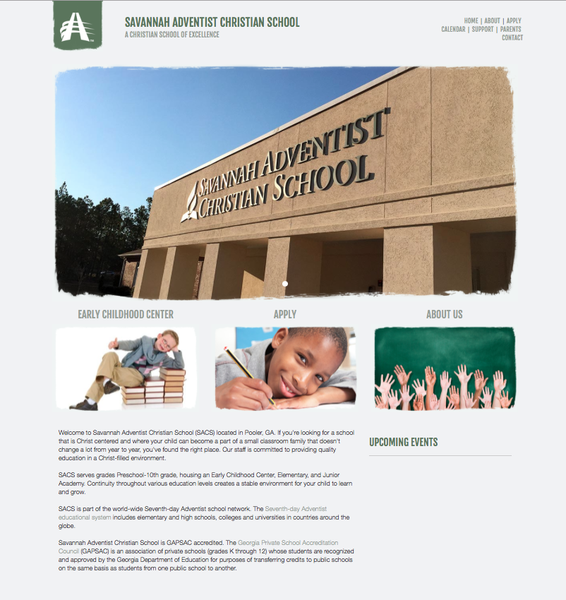 Re-designed Savannah Adventist Christian School website.
