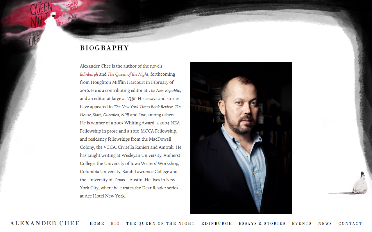 Created for author Alexander Chee:  http://thequeenofthenight.com
