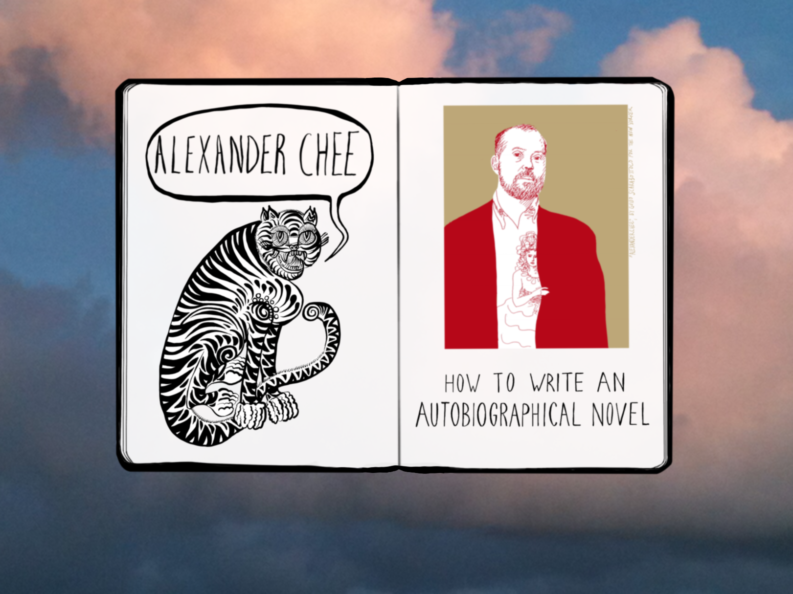 Landing page illustration and graphic design for Alexander Chee,  http://alexanderchee.net