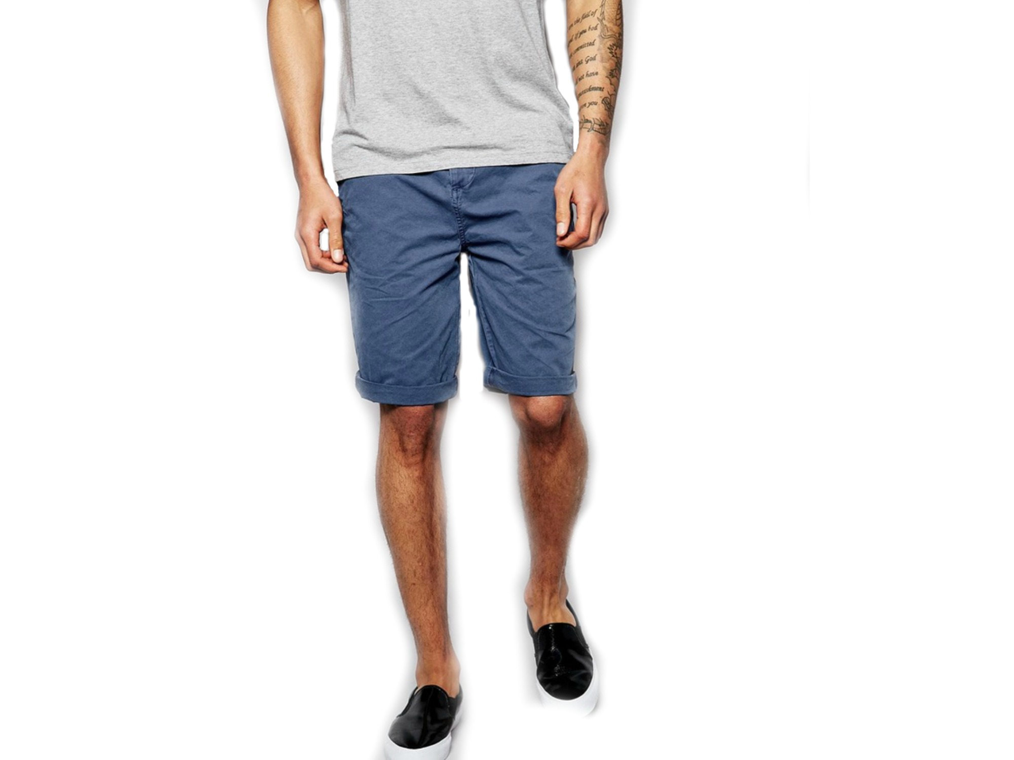 ASOS Brand Chino Shorts Longer Length with Belt