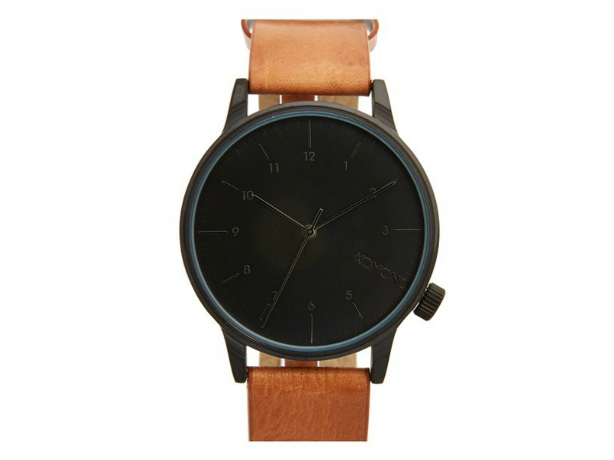 Komono 'Winston' Round Dial Leather Strap Watch, 40mm