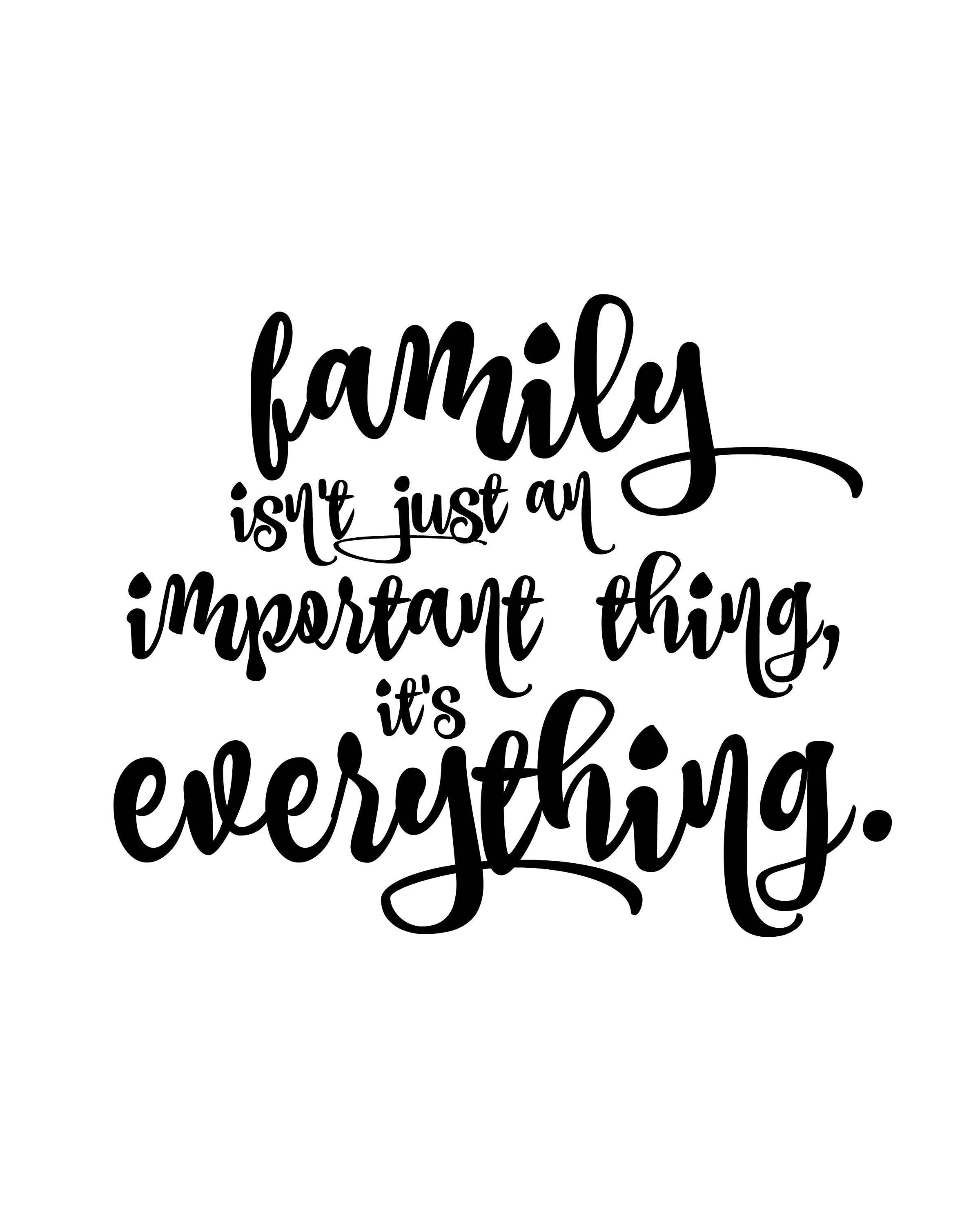 Family Is Everything || Free Printable || 8x10 floral, black and white, minimalist, quote , print, important, family, love, home, decor