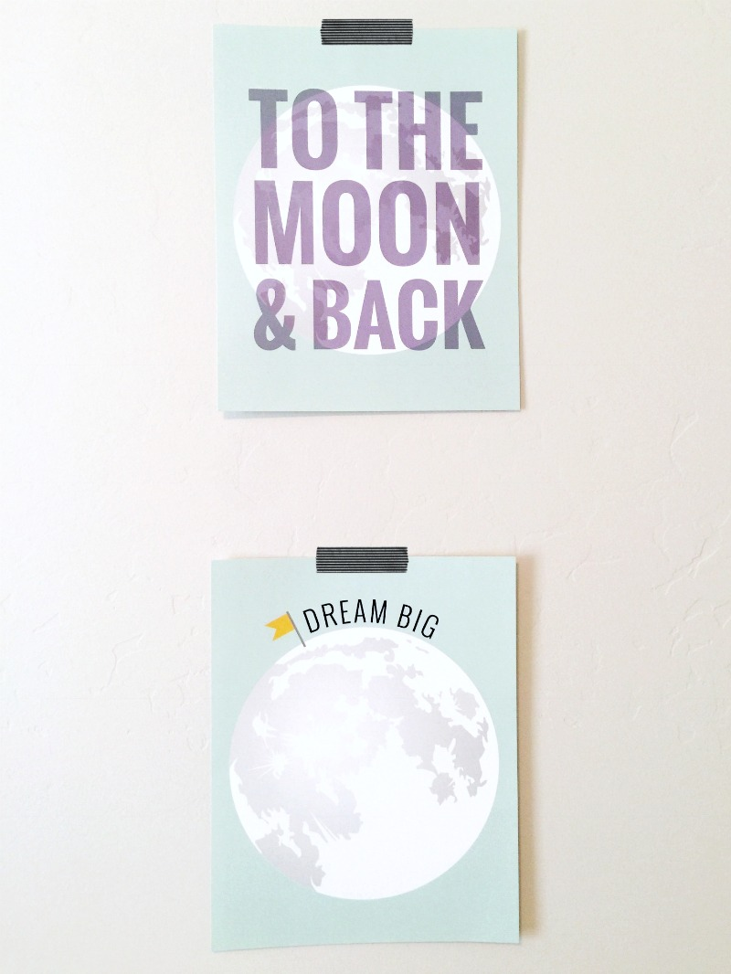 Custom Prints from Breezy + Co. || Moon & Back, Dream Big, Moon Prints, Nursery, Space Theme