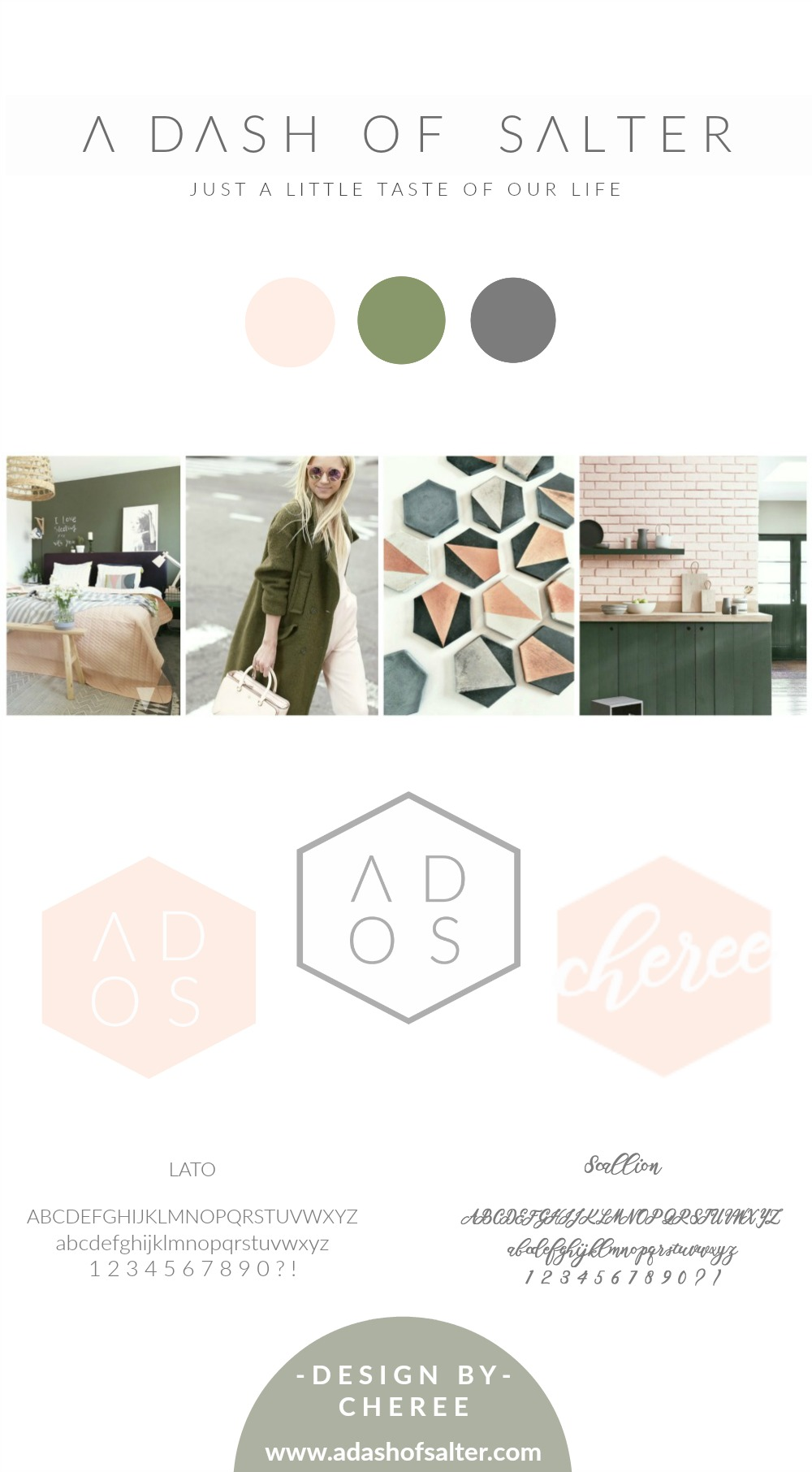 A Dash of Salter || Minimal Brand || Board, peach, olive, gray, hexagon, Lato, Scallion, design, color scheme
