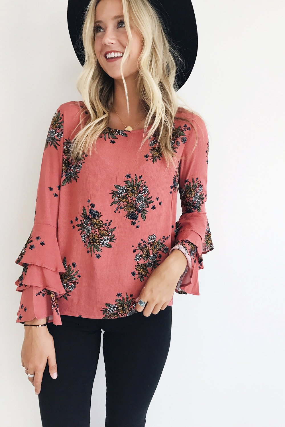 Apple Floral Blouse in Dark Rose