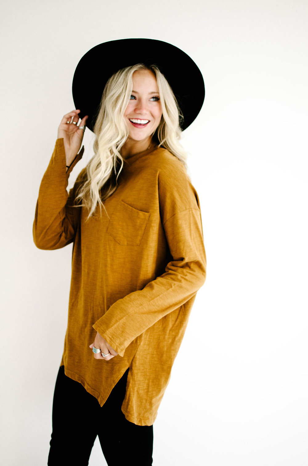 Campus Long Sleeve Top in Copper