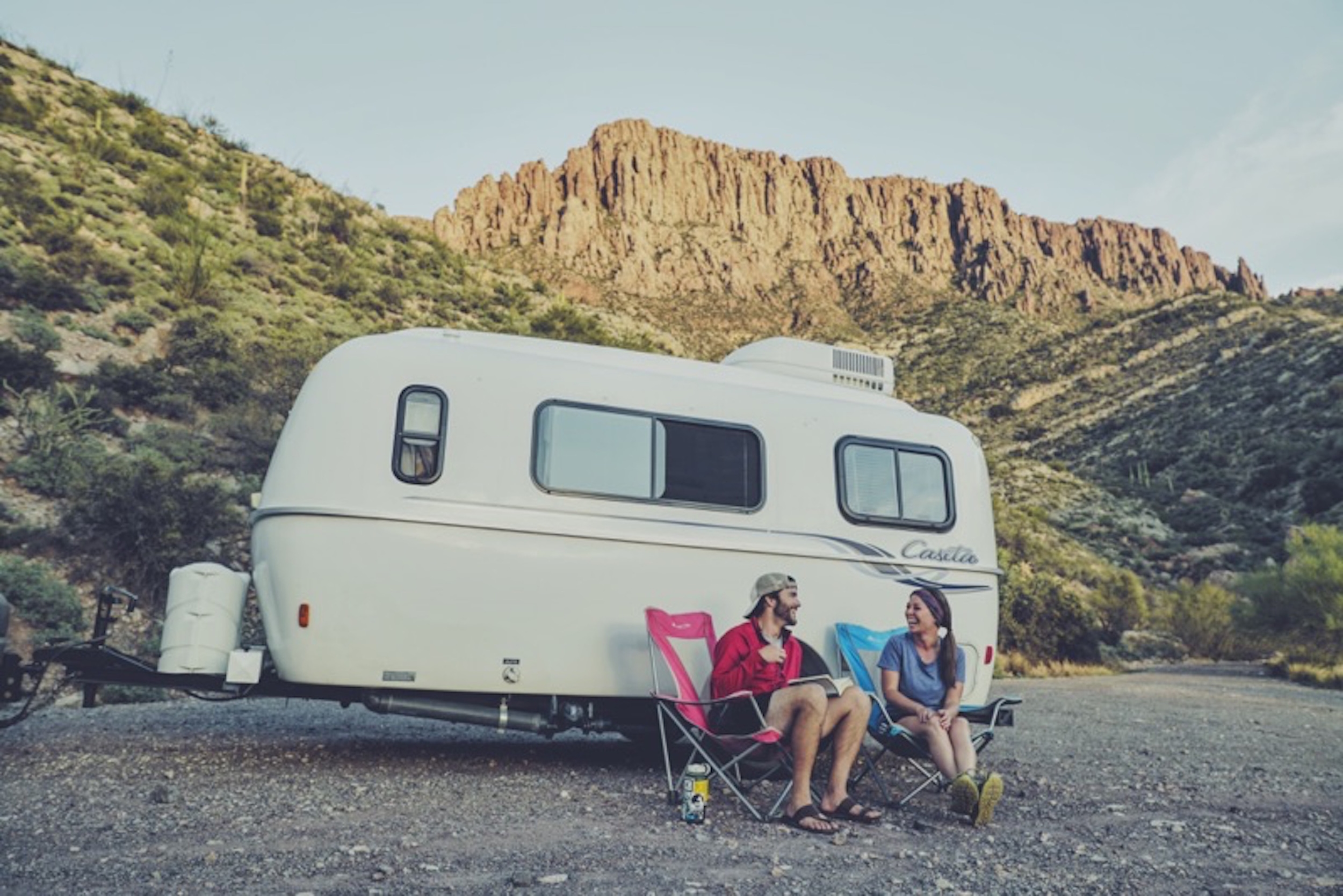My wife, Lindsey, and I with our camper in Arizona. Photo credit: Charlie K Media