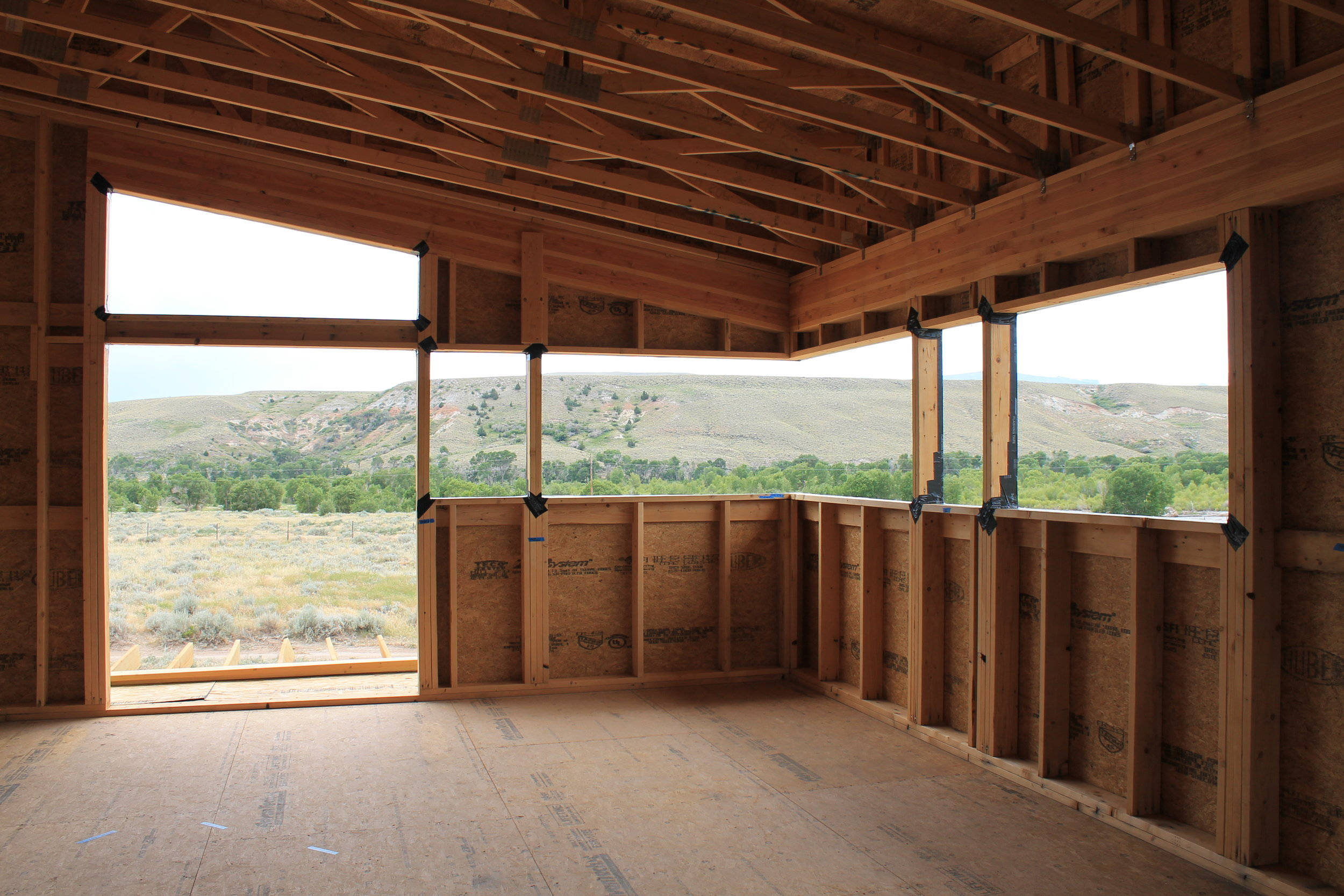 The view onto the Crowheart landscape from the kitchen at the build site.