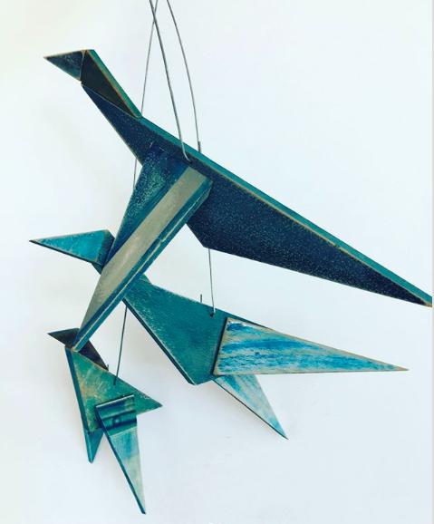 Kristin FitzGerrell - shibori birds, wood, shibori, 2017