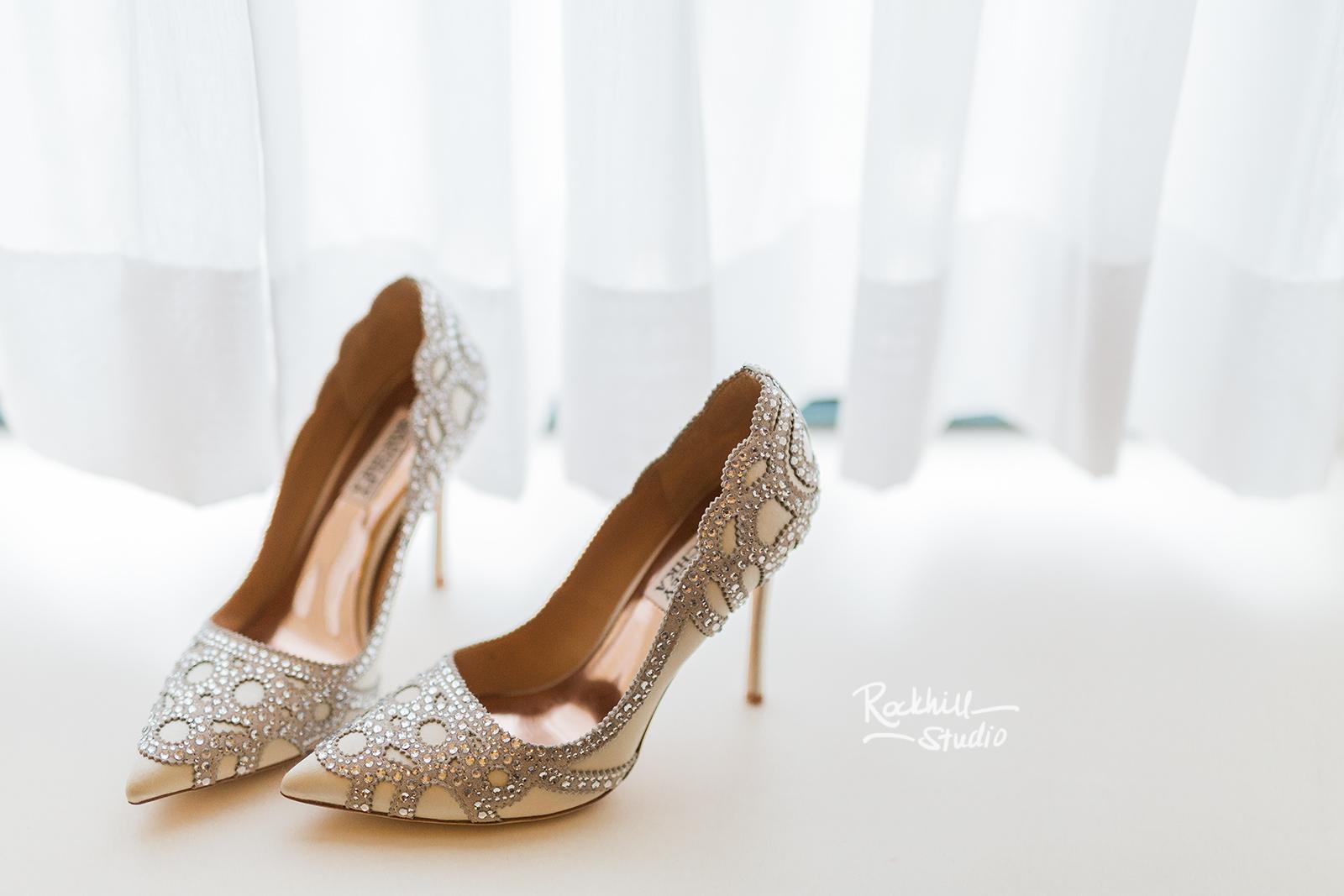 traverse city wedding photographer bridal shoes detail rhinestones