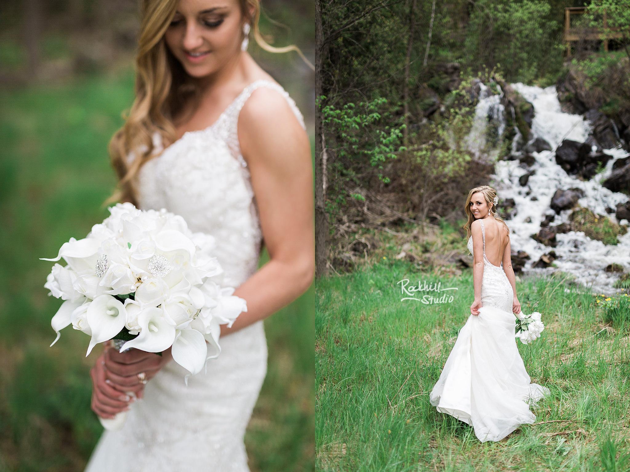 traverse city wedding photographer bride waterfall lily bouquet