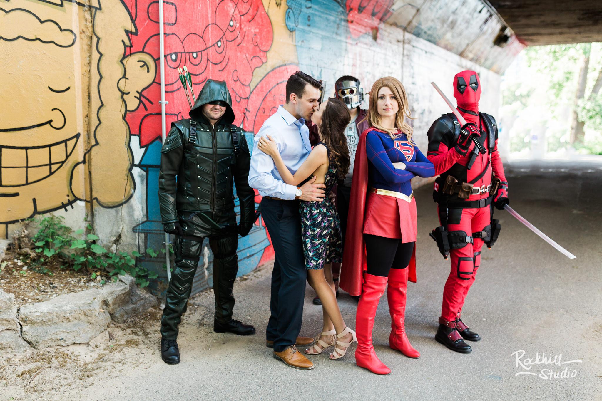 Traverse City Wedding Photographer Coffee Shop Engagement Grand Rapids superheros comic con