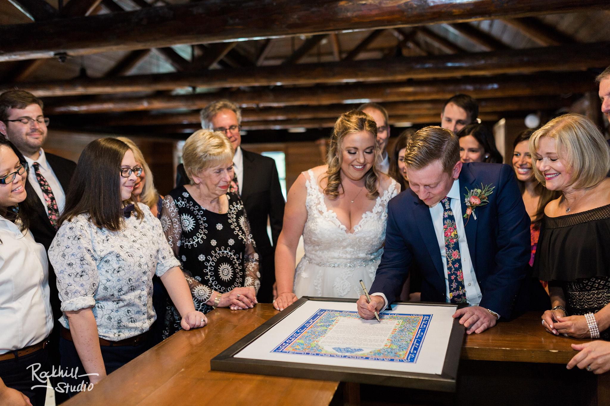 Drummond Island Wedding, ketubah signing, Traverse City Wedding Photographer Rockhill Studio