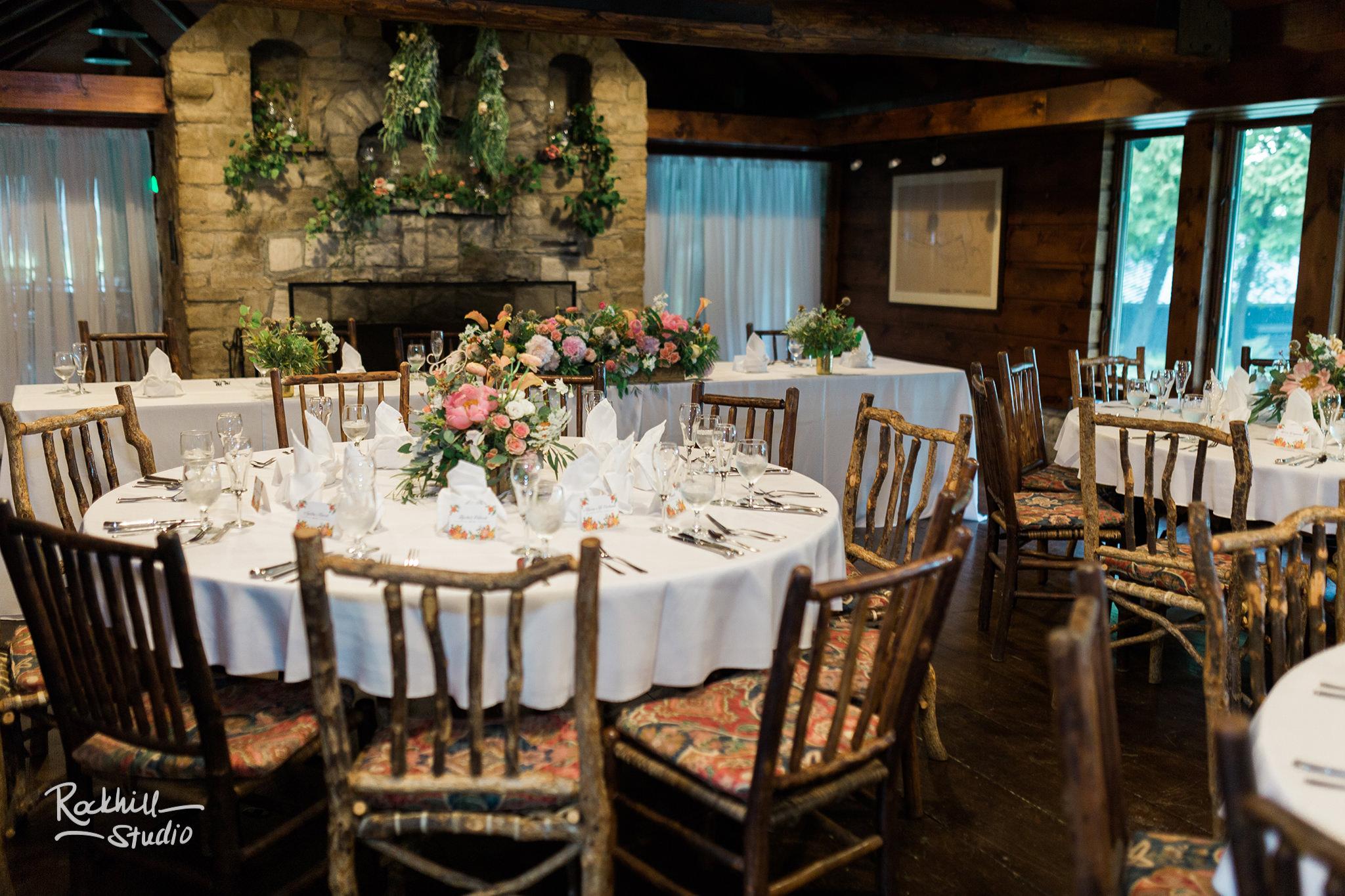 Drummond Island Wedding, reception tables,Traverse City Wedding Photographer Rockhill Studio